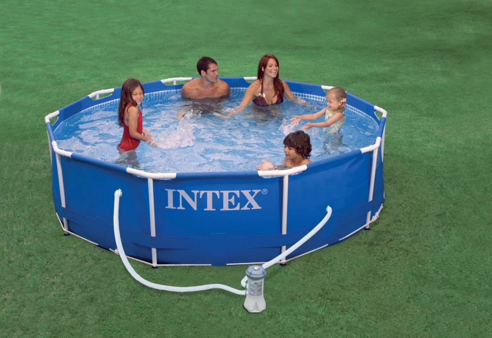 Intex Family Size Round Metal Frame Plastic Swimming Pools(China (Mainland))