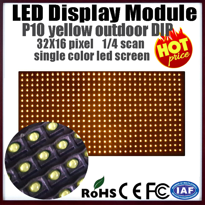 free shipping outdoor p10 led module, led screen p10 waterproof yellow/amber yellow for bus stop led moving text sign board(China (Mainland))