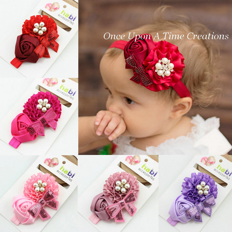 1piece 2014 hot sale fashion girl flower red with alloy button headband new born baby  hairband kids hair accessoriesОдежда и ак�е��уары<br><br><br>Aliexpress