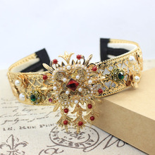 Fashion Sexy Baroque wide Gem Pearl cross Hairbands for women Wedding Crown hair accessories fashion bridal