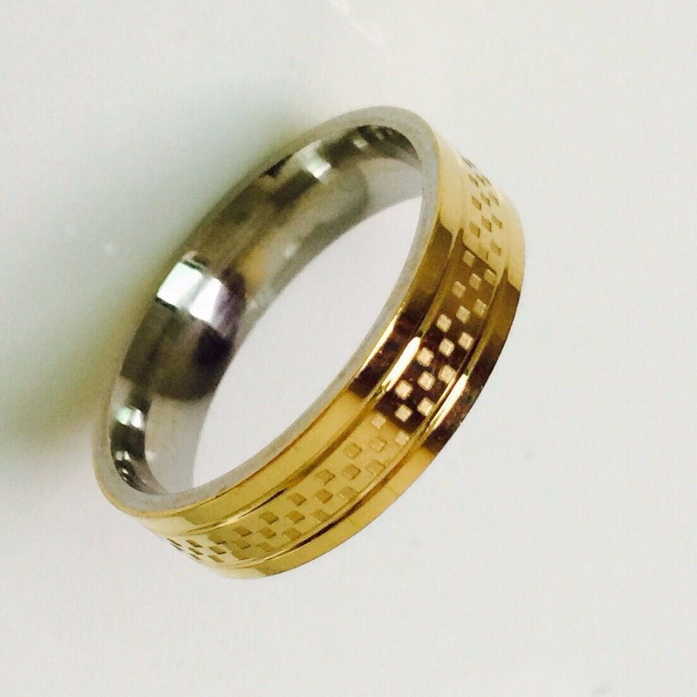 Cool Simple Men women Ring 18K gold plated Stainless Steel ...