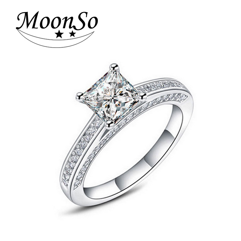 Hot! Real 925 Sterling Silver Wedding Engagement Ring 1.5 Carat Emerald Princess Cut CZ Diamond Jewelry Wholesale R645(China (Mainland))