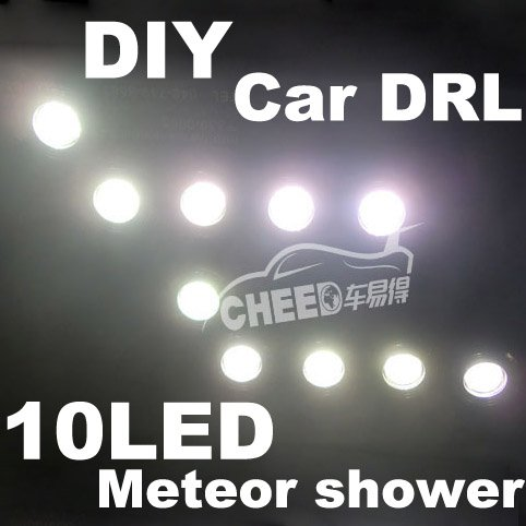 DC12/24V Car Auto Truck DIY DRL Meteor shower 10 LED Daytime running lights Waterproof Automotive decorative Led lights(China (Mainland))