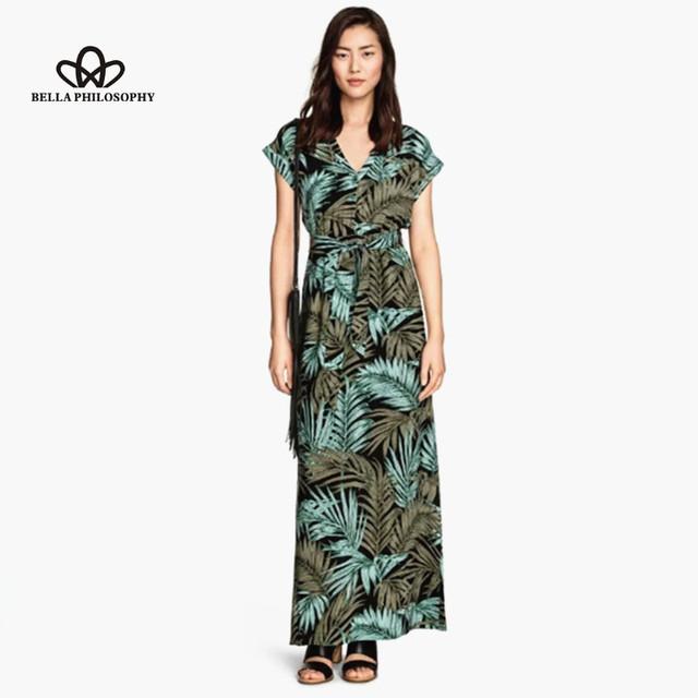 2015 лето новый тропический дерево зеленый лист печати v-образным вырезом повседневная лонг-бич платье