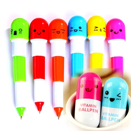 10Cute Smiling Face Pill Ball Point Pen Pencils Telescopic Vitamin Funny Capsule Ballpen School Use 5.8-12CM Banner