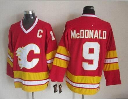 Calgary Flames Mens Jerseys #9 Lanny McDonald Red Ice Hockey Jersey Stitched Name Logos 4134