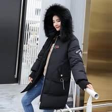 2019 Новая мода патч дизайн большое пальто с мехом зимняя женская пуховая хлопковая стеганая куртка пальто Женская Толстая длинная пуховая п...(China)