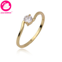 14K Real Gold Plated 2 Prongs 0.4 CT Round Brilliant Cut Grade AAA Solitaire CZ Diamond Engagement Ring (10536) FREE SHIPPING(China (Mainland))