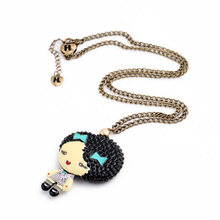 Casual Necklace Top Selling Pretty Gift Enamel Sweet Girl Pendants Cartoon Figure Necklace(China (Mainland))