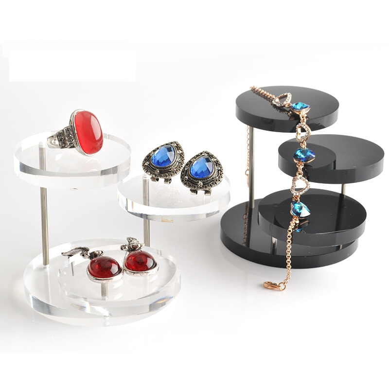Jewelry Organizer Holder 3 Tray Acrylic Jewelry Display Stand For Earring Necklace Bracelet Rack Display Stand Shelf XHH8105(China (Mainland))