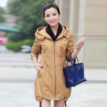 2014 plus size autumn and winter clothing women's medium-long mother trench women's slim outerwear 100% cotton with a hood