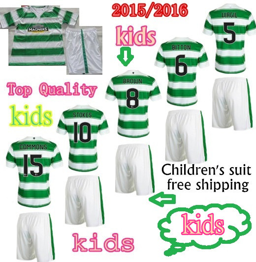 15/16 Scotland Children Sets BROWN home Jersey 15/16 soccer jerseys STOKES MULGREW FORREST 15/16 Youth kids football Sets jersey(China (Mainland))