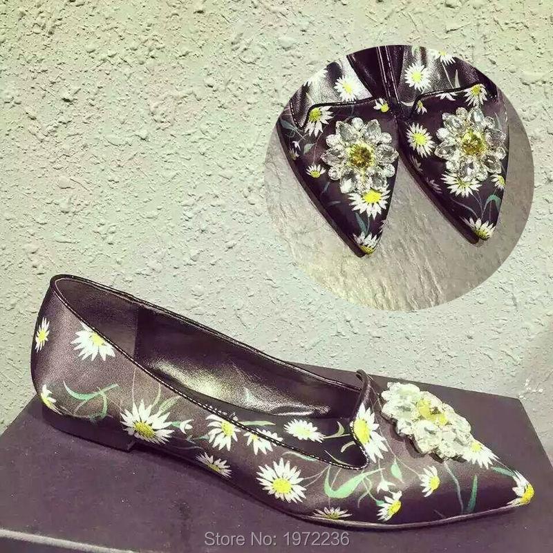 Luxury Designer Brand Black Flower Print Rhinestone Satin Women Zapatos Mujer Pointed Toe Flats shoes single