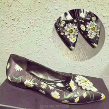 Luxury Designer Brand Black Flower Print Rhinestone Satin Women Zapatos Mujer Pointed Toe Flats shoes single Shoes ladle shoes