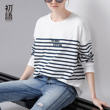 Buy Toyouth T-Shirt 2017 Spring Women Stripe Letter Embroidery Casual Batwing Sleeve O-Neck Tees Tops for $13.32 in AliExpress store