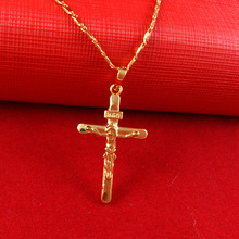 2015 Hot men necklace Free shipping 24k gold necklace top quality necklace Cross pendant Cool Men