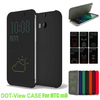 Free Shipping Auto Sleep Wake Smart Flip Cover TPU Case Dot View Cover For HTC One M8 Case Phone(China (Mainland))