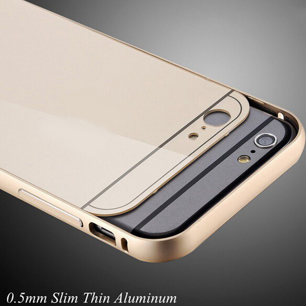 i6/6+ Capa Dual Hybrid 0.5mm Aluminum Frame+ Acrylic Back Cover For iphone 6 4.7 Phone Cases For Apple iphone 6 Plus With LOGO(China (Mainland))