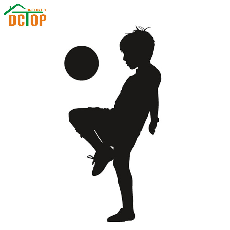 A Boy Playing Football Wall Sticker Silhouette Boys Room Wall Decor Vinyl Art Removable Wall Decals(China (Mainland))