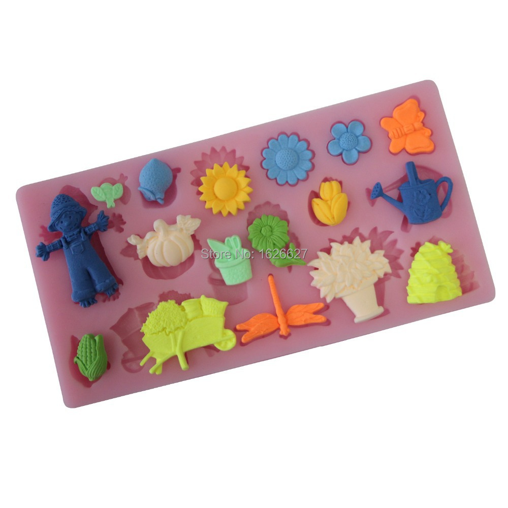 3D Silicone Mold Flower Animal People Fondant Cake Decorating Styling Tools Mould For Soap Cake Mold Color Pink(China (Mainland))