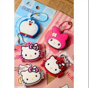 Kawaii Cartoon Hello Kitty/Melody/Doraemon Silicon Key Caps Covers Keys Keychain Case Shell Novelty Item Retail KCS(China (Mainland))