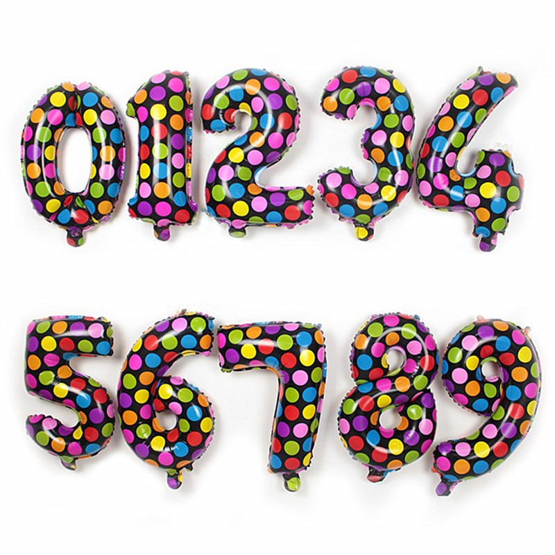 Free Shipping Holiday Festival Multicolor Wave Point Digital Balloons Birthday New Year decoration Numbers Helium Foil Balloons(China (Mainland))