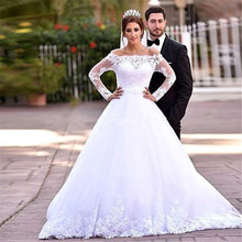 2016 Hot Sale Elegant A Line Lots Of Lace Appliques Long Sleeve Muslim Wedding Dress YG005(China (Mainland))