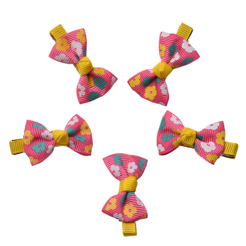 D6li 5Pcs/ lot Candy Color Knitted Mini Bow Hairpins Kids Baby Girls' adorable Hair Clips accessories May29(China (Mainland))