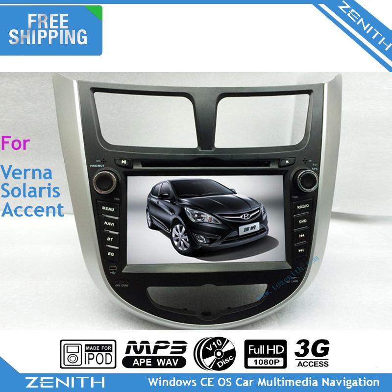 Free shipping Wifi 3G Hyundai Accent Solaris Car DVD GPS Navigation Bluetooth Radio TV USB SD Steering wheel Ctrl Free Camera(Hong Kong)
