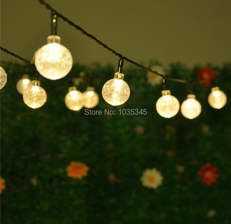 String Lights For Outside : 20 LED Solar Powered Outdoor String Lights Crystal Ball LED Fairy Light for Christmas Tree ...