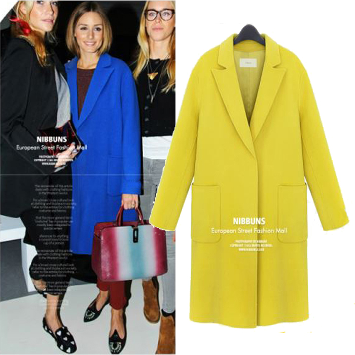 Trench Coat 2015 New Fashion Womens Lapel Slim Long Sections Wool Blend Winter Plus Size 4 color 5 size