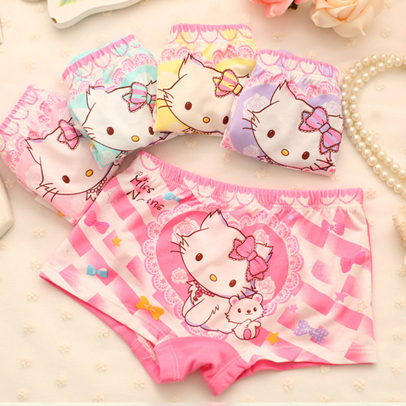 Summer Yellow Pink Green Blue Purple Boxer Infantil Kids Girls Underwear Baby Hello Kitty Children Cotton Panties 2015(China (Mainland))