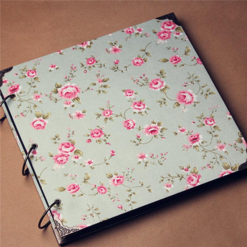 Diy Scrapbook Cover : Vintage fabric cloth cover inch diy album stick