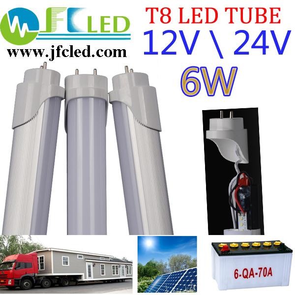 36pcs led tube t8 450mm 12V 24V 36V 6W 45cm led lamp RV 1.5ft 600lm led fluorescent SUV caravan family sedan tube Free shipping(China (Mainland))