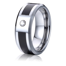 Buy black mens wedding band 8mm tungsten ring cz stone wholesale fashion jewelry bijoux USA free for $12.90 in AliExpress store