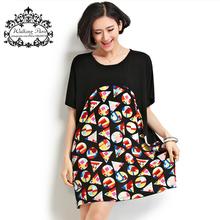 4XL завышение Batwing рукавом свободного покроя хлопковое платье геометрический принт красочный Большой размер топы лоскутная широкий рубашки женская одежда