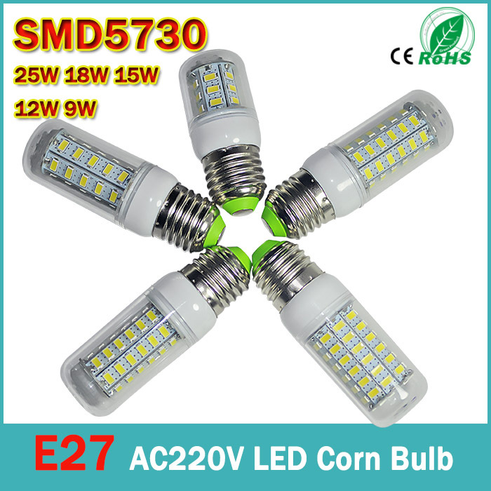 E27 AC 220V 110V LED 9w 12W 15w 18W 25w LED Corn Light SMD 5730 Super bright Replace 30W Halogen Lamp Led Light spotlight(China (Mainland))
