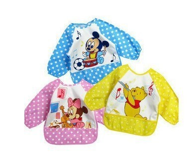 CL0143 Free Shipping,1Pc, Baby Unisex Cartoon Waterproof Bib, Mickey Mouse Minnie Winnie the Pool Smock Vesture Shirts Bib