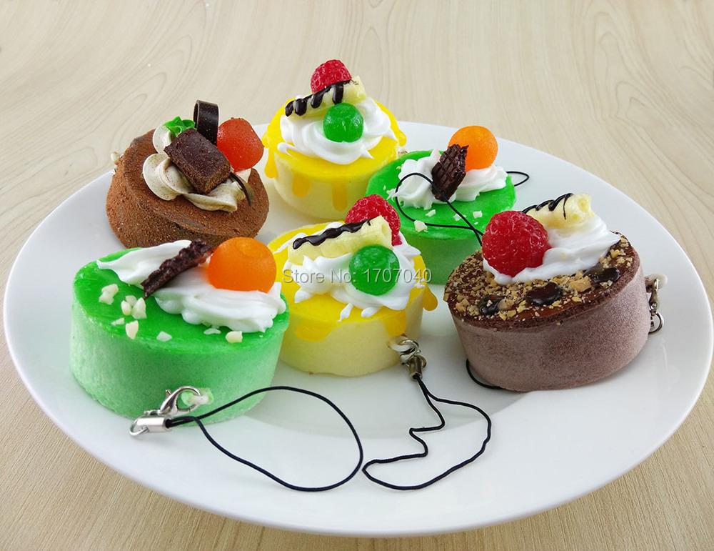 Kawaii Fruit Round Mine Cake Squishy Cell Phone Charms 5CM Food Straps Key Chain(China (Mainland))