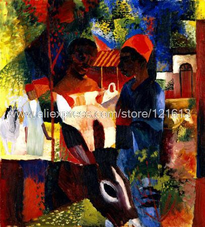 August Macke Market In Tunis Traditional New Hand Painted Halloween Wall Mural Patterns Decor Stickers Modern(China (Mainland))