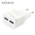 AIXXCO USB Charger For iPhone iPad Samsung 2 Ports Plating Wall Adapter 5V 2A EU Plug Universal Mobile Phone Charging Device