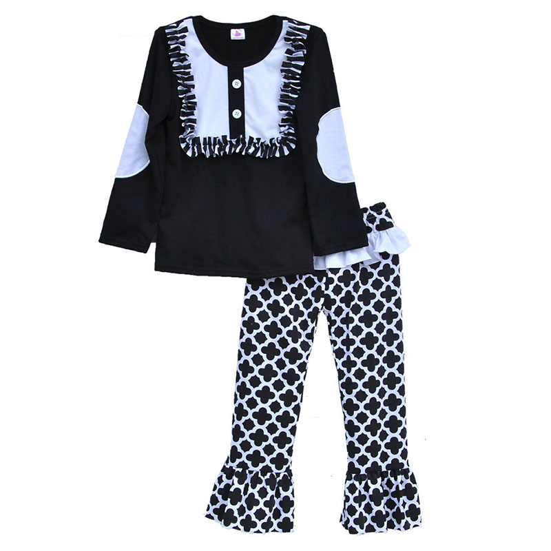 2016 Kids Fashion Cool Girls Clothing Sets Geometric Printing Pants Classical White Black Patchwork Toddler Boutique F028 EE(China (Mainland))