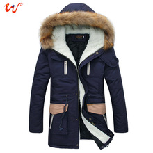 2014 New Sweet Couple Jackets New Winter Thick Cotton Coat Long Paragraph Slim Hooded Men Padded Fashion Brand Jackets XG20-193