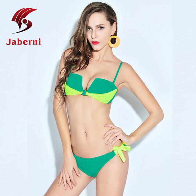 Неон Bathsuit зеленый бандо-бикини корейский стиль дамы бюстгальтер лоскутная раздавите купальник женщин контрастного цвета мода купальники