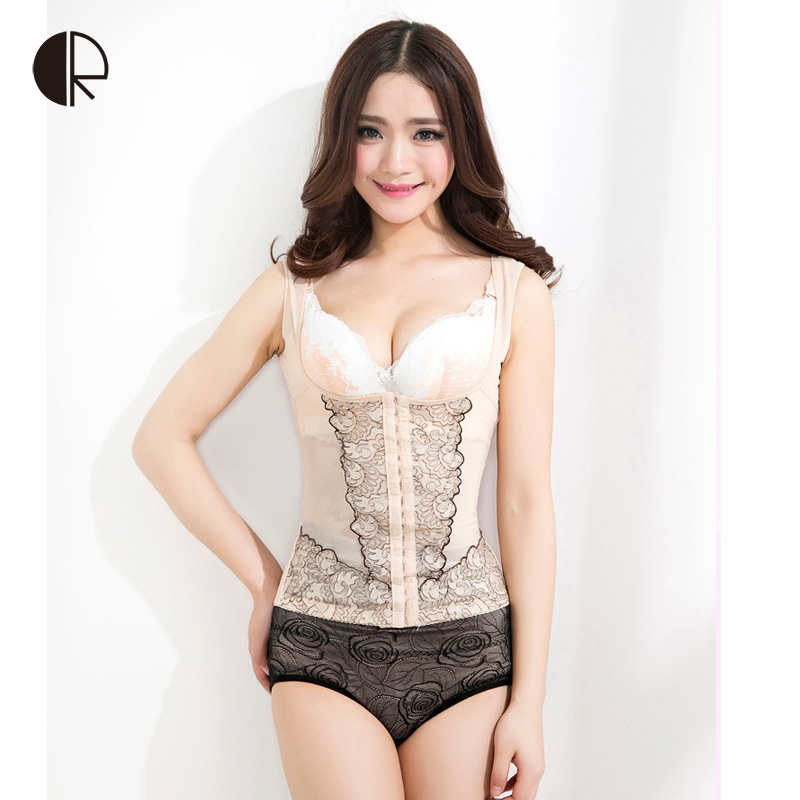 Women's Abdominal Curl Slimming Body Shaper 3 Gears adjustable Breasted Tighten the Waist Sexy Tops Shapers Corset XL-3XL WI337(China (Mainland))