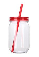 Clear single wall Plastic candy jar cup brief fashion pattern storage mason jar with straw lid tumbler mug drinking water bottle(China (Mainland))