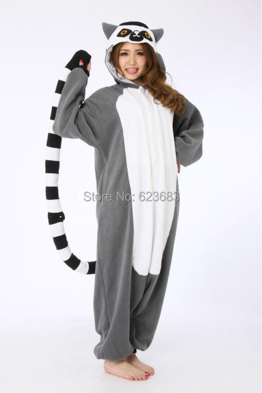 Novelty Animal Anime Lemur Long Tail Monkey Adult Unisex Women Men's hooded Pajamas Halloween Christmas Party Cosplay Costumes(China (Mainland))