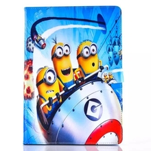 Spaceship Minions Despicable me Card Slot Wallet PU Leather Stand Flip Case Cover for Apple Tablet mini 4(China (Mainland))