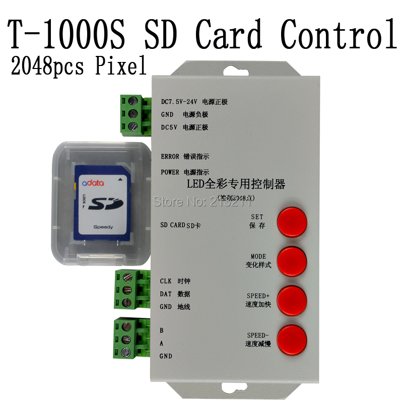 original T1000S T-1000S SD card for WS2801 WS2811 LPD6803 led pixel controller RGB full color DC5V-24V RGB play video SPI(China (Mainland))