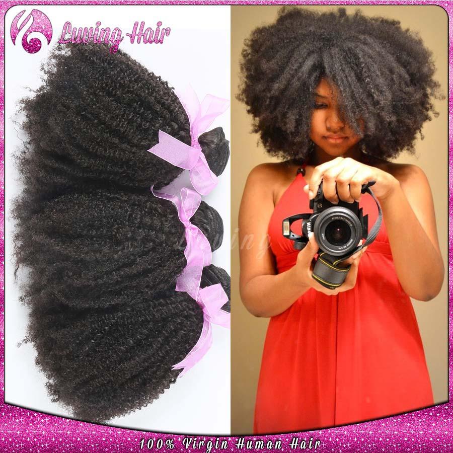 Brazilian Afro Kinky Curly Virgin Hair 3pcs Brazillian Human Hair Weave Bundles Top Natural Hair Extensions For African American(China (Mainland))